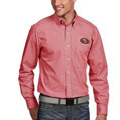 San Francisco 49ers Antigua Associate Woven Long Sleeve Button-Down Shirt -  Scarlet 11f6da908