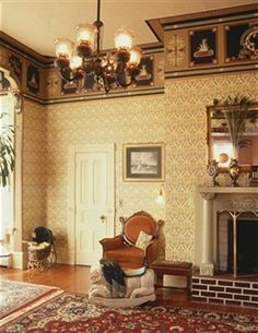 Victorian House Decoration With Wall Border And Mirror And Wall Art And Furniture And Area Rug And Chandelier , Dashing Victorian House Decoration In Home Design and Decor Category Victorian Bedroom Decor, Victorian Interiors, House Interiors, Interior Exterior, Home Interior Design, Interior Decorating, Decorating Ideas, Decor Ideas, Decorating Websites