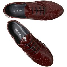 4949f60f7835 Magic Oxblood Patent Brogues ( 60) ❤ liked on Polyvore featuring shoes