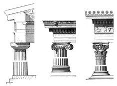 Ordini architettonici dei templi, emblemi della civiltà greca.