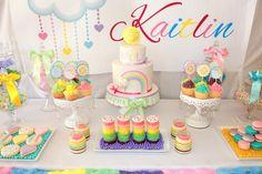 Pastel Rainbow 3rd birthday party via Kara's Party Ideas KarasPartyIdeas.com Supplies, cake, cupcakes, recipes, printables, and more! (14)
