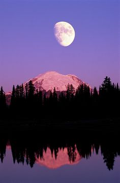 Tipsoo Lake and Moon at Mount Ranier National Park In Washington