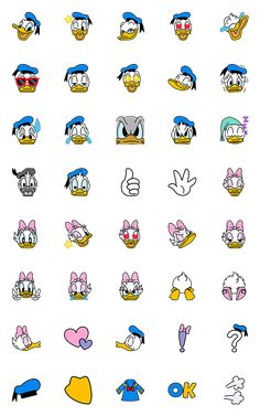 Donald and Daisy Duck are now here as a handy emoji set! Kawaii Disney, Disney Art, Emoji Drawings, Disney Drawings, Stickers Kawaii, Cute Stickers, Disney Phone Wallpaper, Wallpaper Iphone Cute, Doodles Bonitos