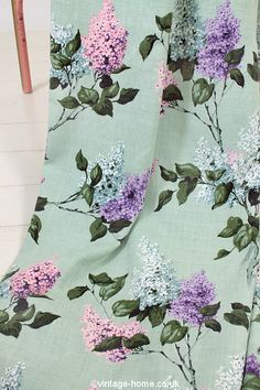 Vintage Home Shop - Pretty Vintage Lilac Blooms Fabric: www.vintage-home.co.uk