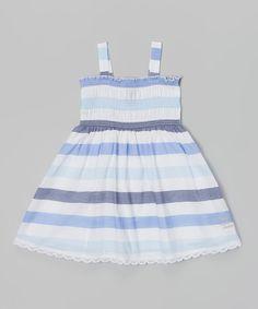Navy & White Stripe Babydoll Dress - Infant, Toddler & Girls by Calvin Klein Jeans #zulily #zulilyfinds