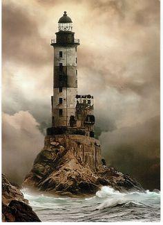 Russia, Lighthouse Aniva, Sakhalin, Sea of Okhotsk