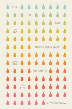 Clever & Colourful Baby Shower 'Save The Dates'. Would be a good idea to include where the parents are registered and that this is a couples shower in the Save the Date.