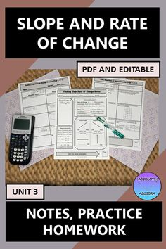 Teach your Algebra students how to find the slope and rate of change with these easy to use, 100% editable, fill in the blank notes, practice, and homework worksheets. Your students will finding slope through tables, graphs, and word problems. The homework aligns with the practice problems. Answer keys are included. #Slope #Rate of Change #Editable #Algebra #Notes #Homework