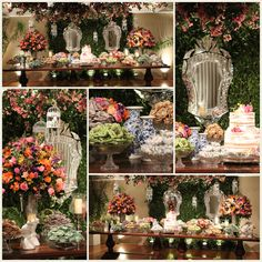 Mesa de doces de casamento rosa