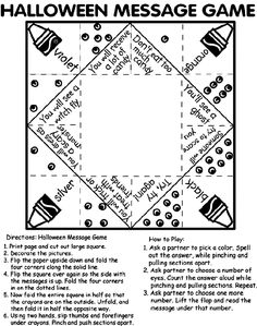 halloween message game coloring page - Free Online Halloween Games For Kids