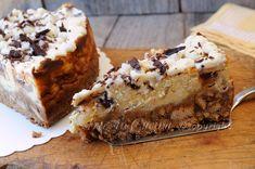 Cheesecake ricotta e pera al forno facile, veloce, cottura in forno, dolce alle pere, torta con frutta e cioccolato, dolce da merenda, pere caramellate, cioccolato