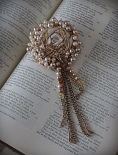 CLOTILDE Lace Pearl Brooch by carlafoxdesign on Etsy, $85.00