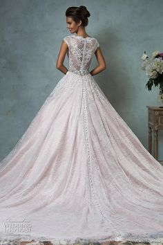 Amelia Sposa 2016 Wedding Dresses Blush Pink Cap Sleeves Bodice Gorgeous A-line Ball Gown Vintage Lace Bride Dress Colored Dominica Back New