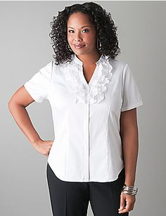 Flirty ruffles lend feminine charm to our short sleeve, button front shirt. The structured silhouette flatters curves with contoured seams, bust darts and V-neckline.  Finished with a mandarin collar and two-button cuffs, this versatile look is on-trend and ready for anything! lanebryant.com