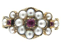 Regency Natural Pearl & Ruby Ring - The Antique Jewellery Company