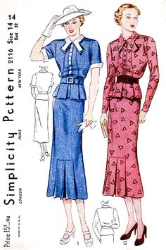 Shop vintage sewing pattern reproductions- A late suit dress in two variations. The straight-back skirt has a pleat inset in front. Vintage Dress Patterns, Vintage Dresses, Vintage Outfits, Vintage Clothing, Clothing Patterns, 1930s Fashion, Vintage Fashion, Ladies Fashion, 1930s Dress