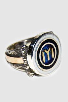 Mavi Mineli Özel Tasarım El İşi Kayı Boyu Gümüş Yüzük