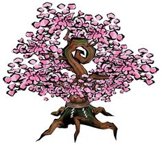 View an image titled 'Cherry Tree in Bloom Art' in our Okami art gallery featuring official character designs, concept art, and promo pictures. Cherry Blossom Tree, Blossom Trees, Cherry Tree, Character Art, Character Design, Blossom Tattoo, Amaterasu, Dark Art, Concept Art
