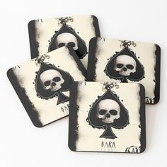 'Ace Skull Card' Coasters by Iphone Wallet, Coaster Set, My Arts, Skull, Art Prints, Printed, Awesome, Shop, Cards