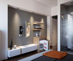 Custom & DIY Minibar Design Inspirations and Ideas for your Mancave Hotel Room Design, Bedroom Bed Design, Tv In Bedroom, Modern Bedroom, Master Bedroom, Bedroom Closets, Bedroom Suites, Bedroom Designs, Luxury Master Bathrooms