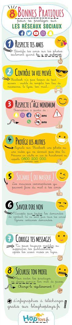 Infographie sur les bonnes pratiques à avoir sur les réseaux sociaux pour les adolescents.