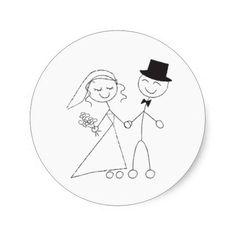 Stick Figure Bride and Groom Round Sticker