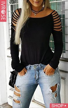 Ladder Cut Out Long Sleeve Casual T-shirt Ladder Cut Out Long Sleeve Cas. - Ladder Cut Out Long Sleeve Casual T-shirt Ladder Cut Out Long Sleeve Casual T-shirt Source by gojiberryclub - Diy Cut Shirts, Diy Shirt, Casual T Shirts, How To Cut Tshirt, Cut Tshirt Ideas, Cut Shirt Designs, Sweatshirt Refashion, Casual Tops, Look Fashion