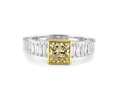 A Modern and Chic White and Yellow Gold Diamond Ring with a Fancy Yellow Princess Cut Diamond in the Center Gold Diamond Rings, Diamond Engagement Rings, Princess Cut Diamonds, Colored Diamonds, Jewelry Collection, Fancy, Jewels, Yellow, Chic