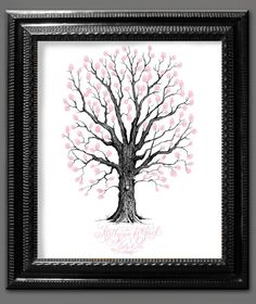 Thumbprint Tree Guest Book with Flourished by LittlePinkPaperie, $65.00