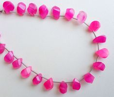 Size 8mm Faceted Heart Shape 6 Inch Strand Side Drilled Hot Pink Chalcedony