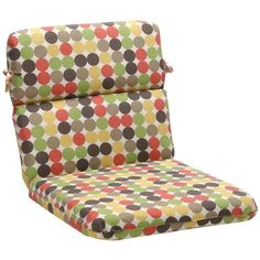 Pillow Perfect Outdoor Multicolored Polka Dots Round Chair Cushion by Pillow Perfect. $67.09. 100-Percent polyester shell. 100-Percent polyester fiber. Fade resistant, mildew resistant, UV protection, water resistant, weather resistant. Sewn seam closure, attaches with ties. Crafted in the USA. This chair cushion is a great way to bring style and comfort to your patio with its durable construction fade resistant fabric and ties that fasten securely to your patio furniture.