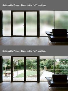 Privacy glass that turns translucent at flip of a switch. Magiv glass or smart glass. This would be great around the jacuzzi tub so you wouldn& have to put all the blinds down at night. Window Privacy, Privacy Glass, Future House, My House, Smart Glass, Corner Tub, Home Tech, Home Automation, Sliding Glass Door