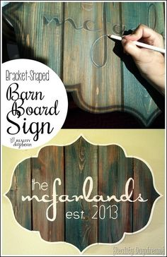 Make this 'Barn Board' sign in a bracket-shape using brand new boards and a…