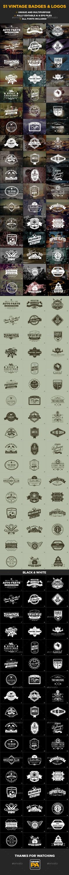 51 Vintage Badges and Logos #logo #typography Download : https://graphicriver.net/item/51-vintage-badges-and-logos/15348120?ref=pxcr