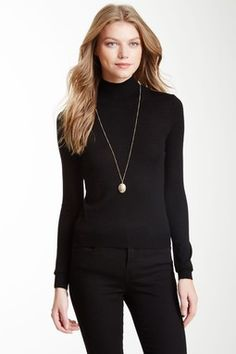 Mock Neck Cashmere Blend Sweater #blackonblack #basicbetch #classy