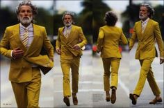 rocking that mustard colored suit !