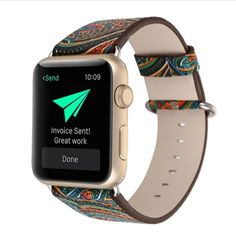 Kobwa Watch Bands for Apple Watch,Premium Genuine Leather Vintage Ethnic Style Folk Custom Pattern Watchband Bracelet Strap Replacement Watchband for IWatch Apple Watch Series 1 2 Green) Apple Watch Leather, Leather Watch Bands, Apple Watch Bands, Leather Fashion, Pattern Fashion, Smart Watch, Chinese Style, Paisley, Vintage Leather