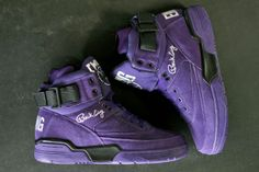 ewing 33 hi purple black. Those are some bad ass shoes! Nike Retro, Jordan 4, Jordan Shoes, Discount Sneakers, Cheap Sneakers, Purple Sneakers, New Jordans Shoes, Sneaker Magazine, Purple Suede