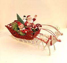 Vintage Santa Flocked Red Velvet Sleigh 2 White deer Knee