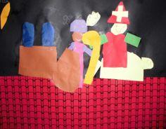 Plak op de onderkant van een zwart vel papier een strook dakpannenpapier. Laat de kinderen hier Sinterklaas en Zwarte Piet op knutselen.