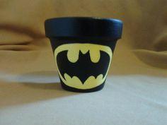 Batman Flower Pot Pencil Jar Decoration by PixieShoppe on Etsy, $8.00