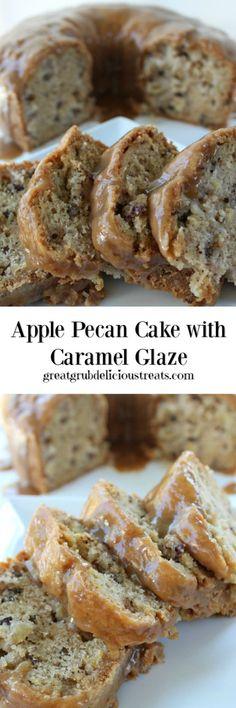 Apple Pecan Cake with Caramel Glaze