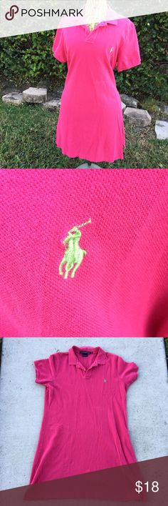 RL Sport Preppy Resort Casual Tennis Shirt Dress Ralph Lauren Polo Sport Shirt Dress. 100% cotton. Bright pink with lime green polo stitching logo. True to size. Wear to classic Ralph Lauren polo complete with classic collar, but in a dress style for a preppy resort wear look. Perfect for a day out or a day on the courts. Used. Slight discoloration on left midsection but hard to see. I tried to get it in the picture but it is very slight. Make an offer! Ralph Lauren Dresses