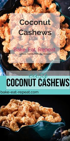 These candied coconut cashews are completely addictive. So good that you will not want to stop eating them until they're gone. Plus a recipe video! Coconut Cashew Recipe, Cashew Recipes, Coconut Candy, Candy Recipes, Snack Recipes, Dessert Recipes, Cooking Recipes, Coconut Recipes Savory, Hazelnut Recipes