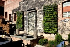 Greenstreet GreenWall installation at restaurant and bar, Gunther & Co. in Baltimore, Maryland. This green wall features fresh herbs.