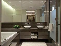 Fotos: Apartamento de luxo tem ambientes sociais amplos, integrados e acolhedores - - UOL Estilo de vida Bathroom Toilets, Bathrooms, Double Vanity, My House, New Homes, House Design, Interior Design, Mirror, Furniture