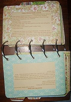 Scrapbook style cookbook made with binder rings*** I want these to be included (blank) as RSVP for my wedding- everyone writes their favorite recipe!!!