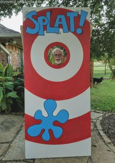 SPLAT game developed as alternative to traditional dunking booth. We throw wet s… SPLAT game developed as alternative to traditional dunking booth. We throw wet sponges at target person for church festival. Much less hassle. Church Carnival Games, Diy Carnival Games, Carnival Booths, Carnival Games For Kids, Carnival Themed Party, Carnival Birthday Parties, Carnival Mask, Halloween Carnival Games, Carnival Activities