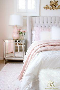pink glam bedroom decor bedroom pink Pink and Gold Girl's Bedroom Makeover - Randi Garrett Design Feminine Bedroom, Glam Bedroom, Room Ideas Bedroom, White Bedroom, White Duvet, Bedroom Designs, Pretty Bedroom, Modern Bedroom, Girls Bedroom