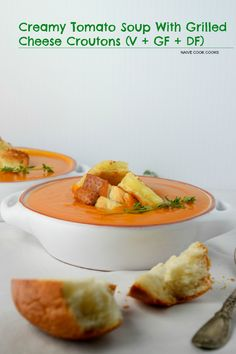 Creamy TOMATO SOUP with GRILLED CHEESE CROUTONS make for perfect cold ...